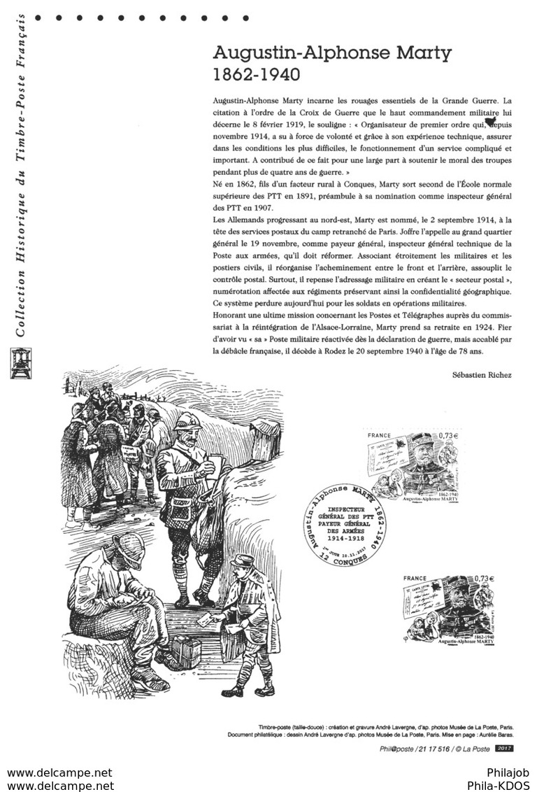 """"""" AUGUSTIN-ALPHONSE MARTY / POSTE AUX ARMEES """" Sur Document Philatélique Officiel De 2017. N° YT 5190  Parf. état. DPO - Militaria"""