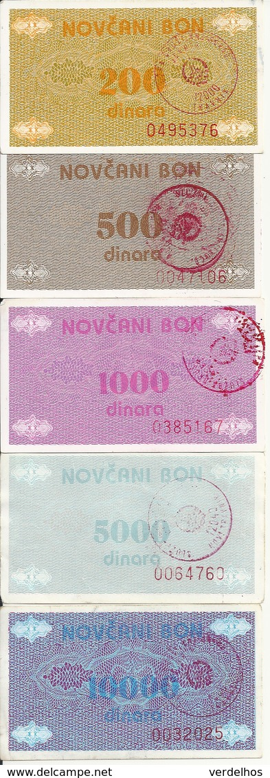 BOSNIE-HERZEGOVINE 200-500-1000-5000-10000 DINARA ND1992 VF P 48-49-50-51-52 ( 5 Billets ) - Bosnia And Herzegovina