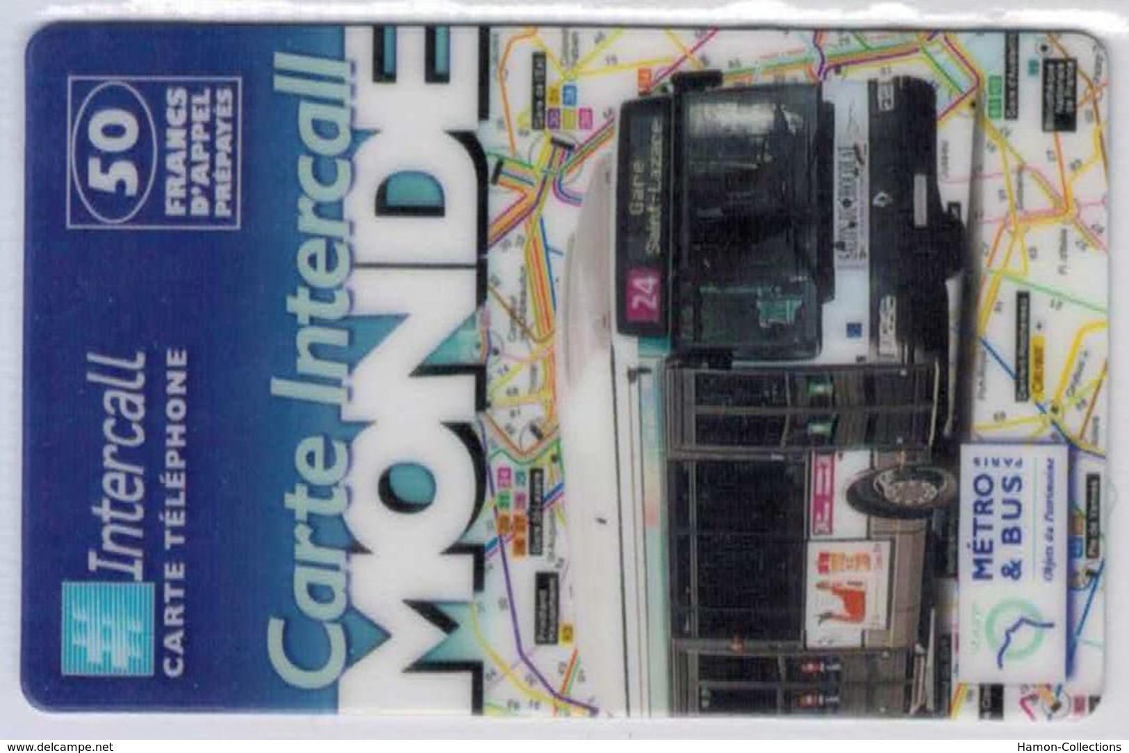 INTERCALL  -Bus 24 Gare Saint Lazare - 50 F - Tirage : 5.300 Ex - Code Gratté - Voir Scans - Andere Voorafbetaalde Kaarten
