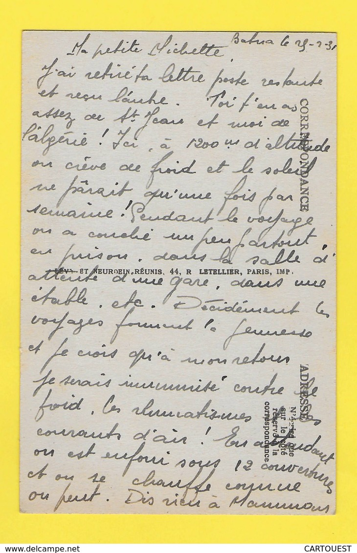 CPA   ALGERIE 1931 ☺♦♦   BATNA ֎ NID DES CIGOGNES - Batna