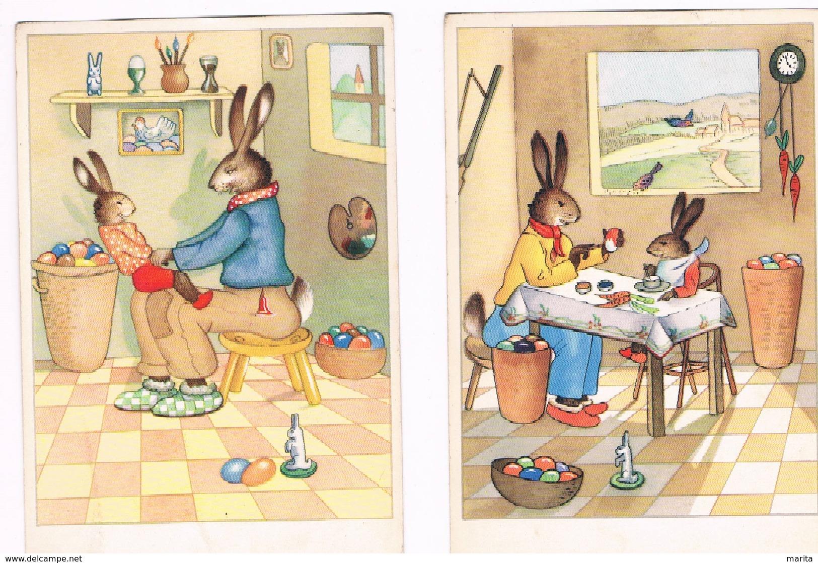 2 Cartes Lapin Humanise-dressed Rabbit- Geklede Hazen - Gekleidete Tiere