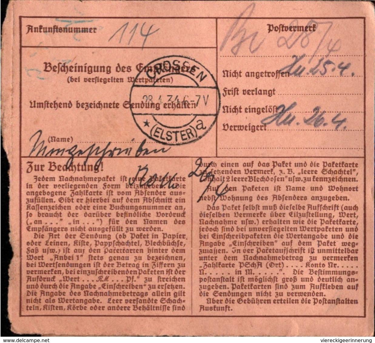 ! 1934 Paketkarte Deutsches Reich, Nachnahme, Zurück, Crossen An Der Elster, Reichenbach Vogtland - Briefe U. Dokumente