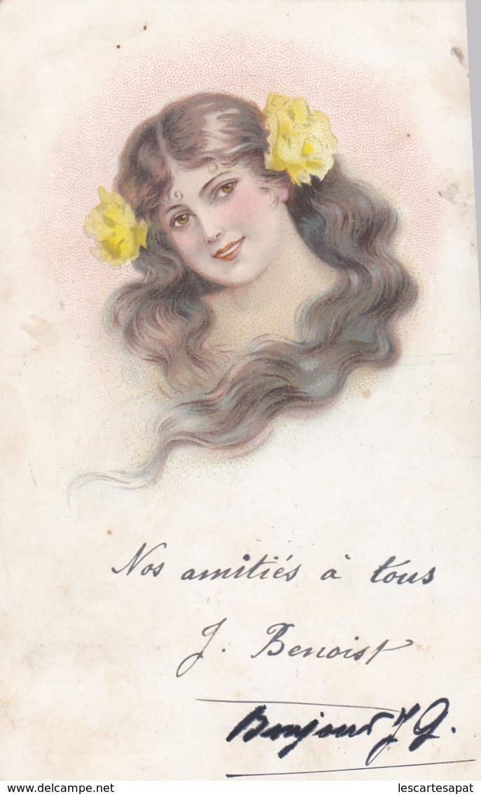 CPA -  Illustrateur -Buste De Femme Avec Longs Cheveuux Et Fleurs Jaunes  ( Lot Pat 87) - Frauen