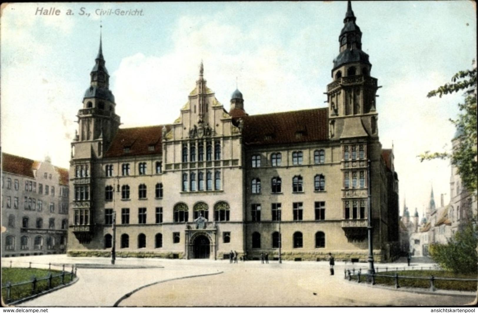 Cp Halle An Der Saale, Zivilgericht, Frontansicht, Zieher - Allemagne
