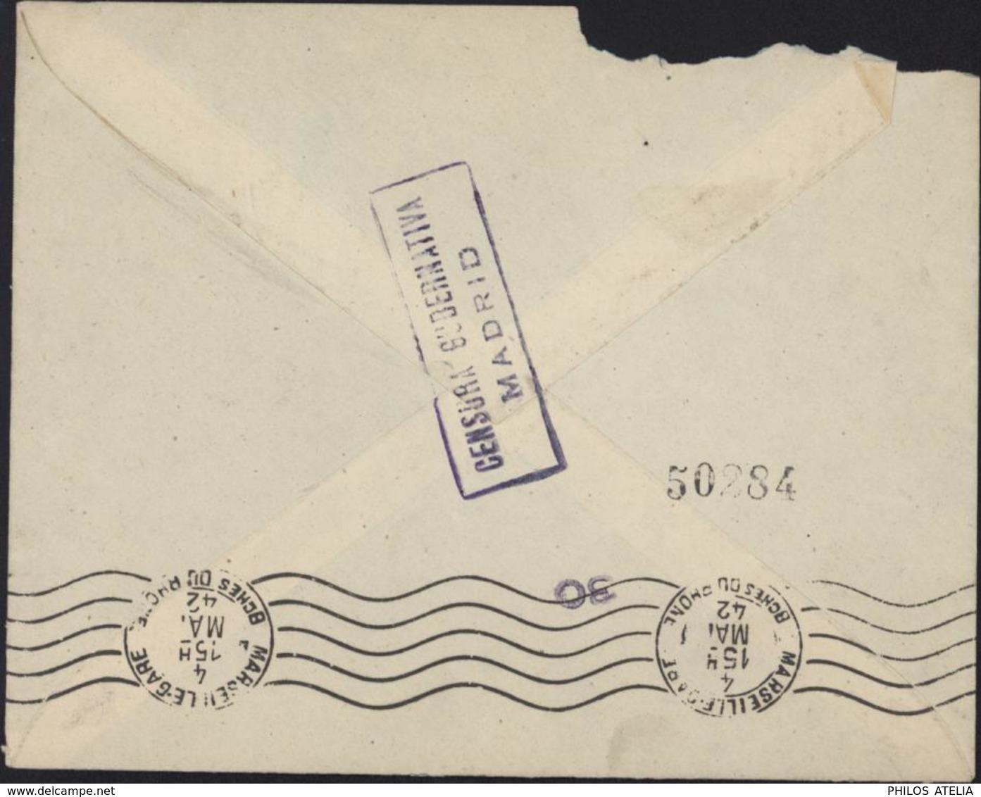 YT Espana Poste Aérienne 195 à 197 + 199 à 201 CAD Aereo Madrid 2 May 42 Dos Censura Gubernativa Madrid - 1931-Aujourd'hui: II. République - ....Juan Carlos I