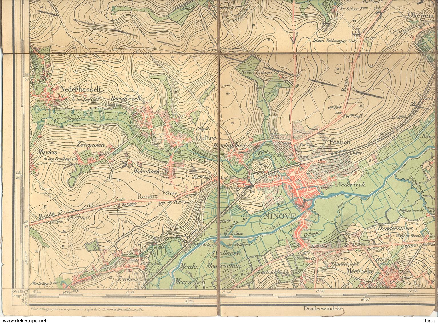 Carte De Géographie Toilée - NINOVE 1871 - Levée Et Nivelée 1864 (b271) - Geographical Maps