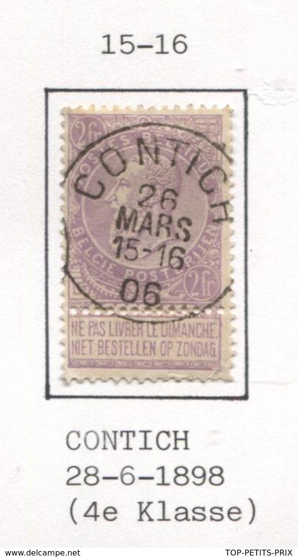 REF84/ TP 67 C.Contich 26 MARS 15-16 06 (1906)  2 Charnières Petite Déchirure Coin Inférieure Droit - 1893-1900 Fine Barbe