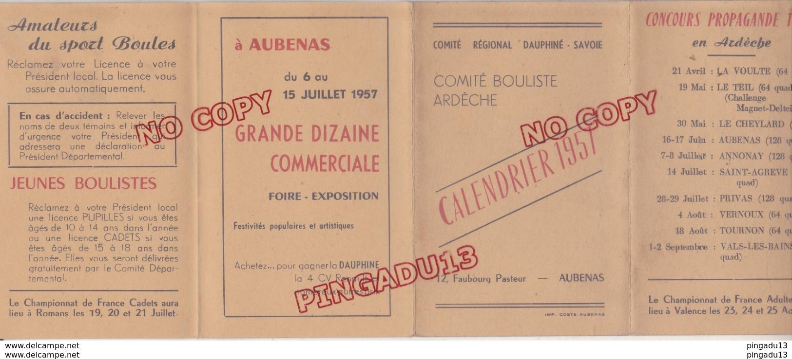 Bowls   Pétanque   Au plus rapide calendrier 1957 Comité bouliste