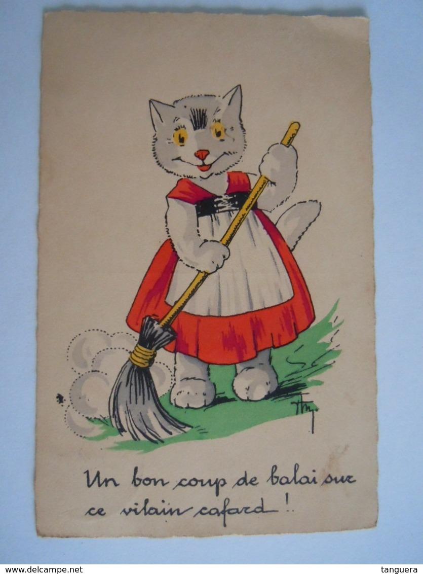 Chat Humanisé Un Bon Coup De Balai Sur Ce Vilain Cafard Illustrateur Signé Circulée Gelopen 1930 - Animali Abbigliati