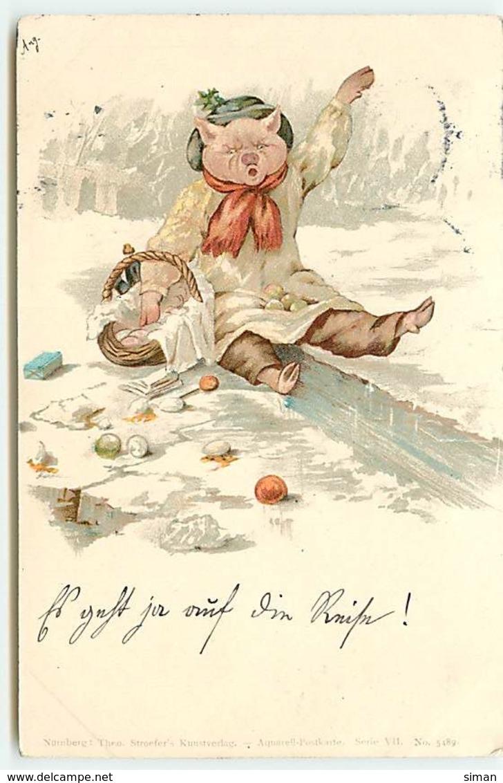 N°13945 - Cochon Habillé Tombé Par Terre Avec Son Panier - Theo Stroefer's - Animali Abbigliati