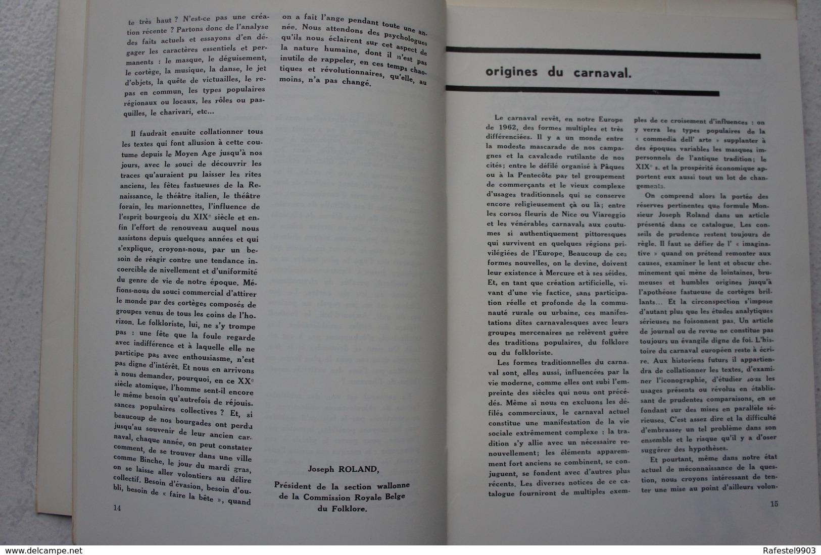 Livre LE CARNAVAL En WALLONIE Ville De Binche Exposition 1962 Gilles - Boeken, Tijdschriften, Stripverhalen