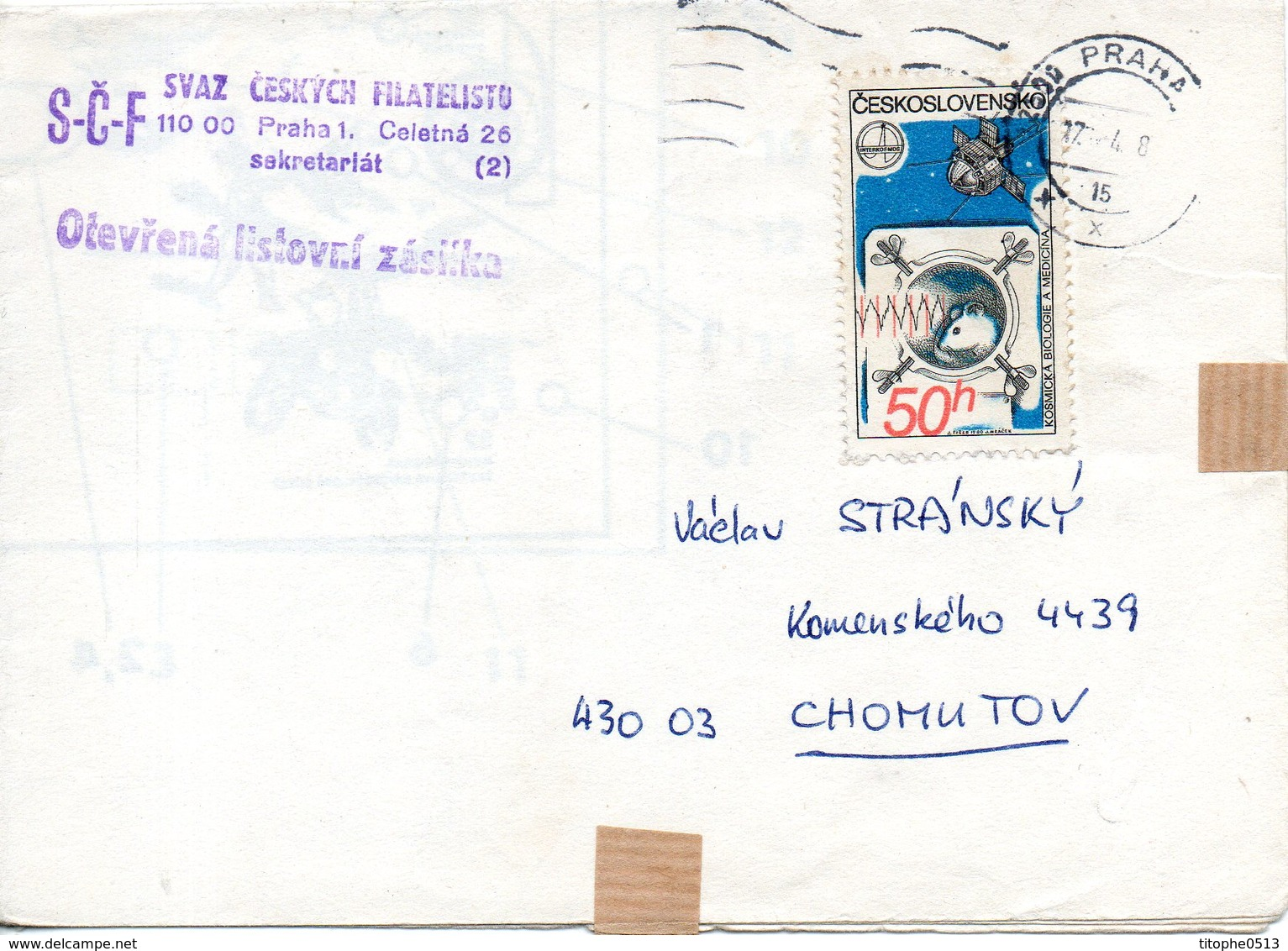 TCHECOSLOVAQUIE. N°2386 De 1980 Sur Enveloppe Ayant Circulé. Biologie Et Médecine Cosmiques. - Lettres & Documents