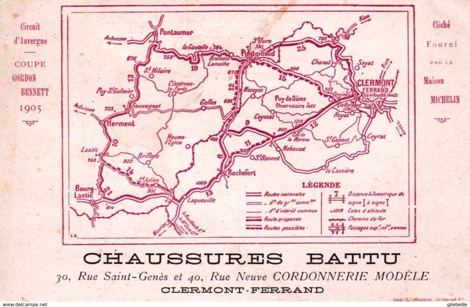 63 - CLERMONT FERRAND -  Chaussures Battu, Coupe Gordon Bennett 1905, Circuit D'Auvergne - Cliché Maison Michelin - Clermont Ferrand