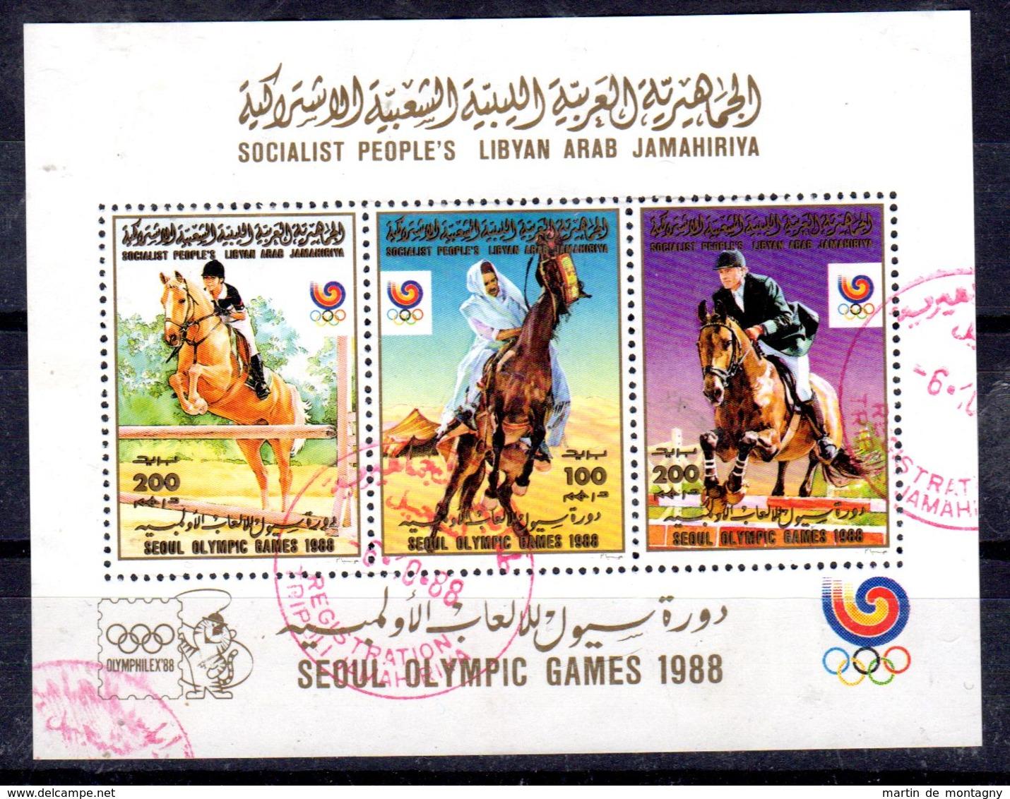 1988; LIBYE - Jeux Olympique  SEOUL, SW-No. 1822 - 1824 Minisheet, Oblitéré, Lot 52172 - Estate 1988: Seul