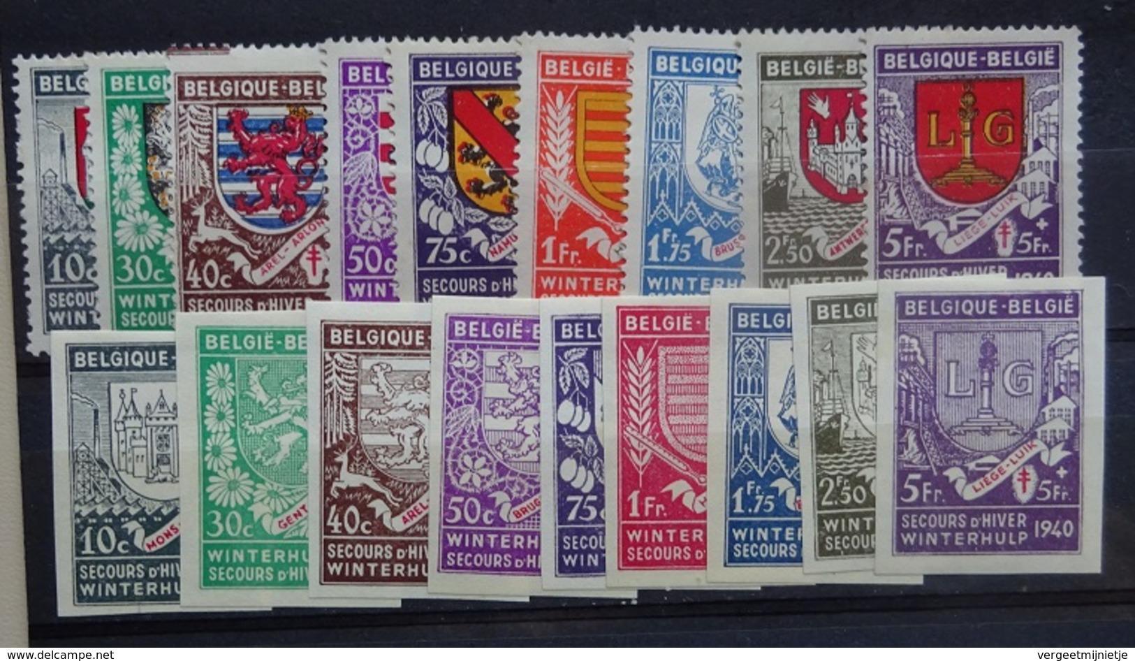 BELGIE  1940  Winterhulp    Nr.  547 - 555 + 547 A - 555 A     Scharnier *     CW  30,00 - Neufs