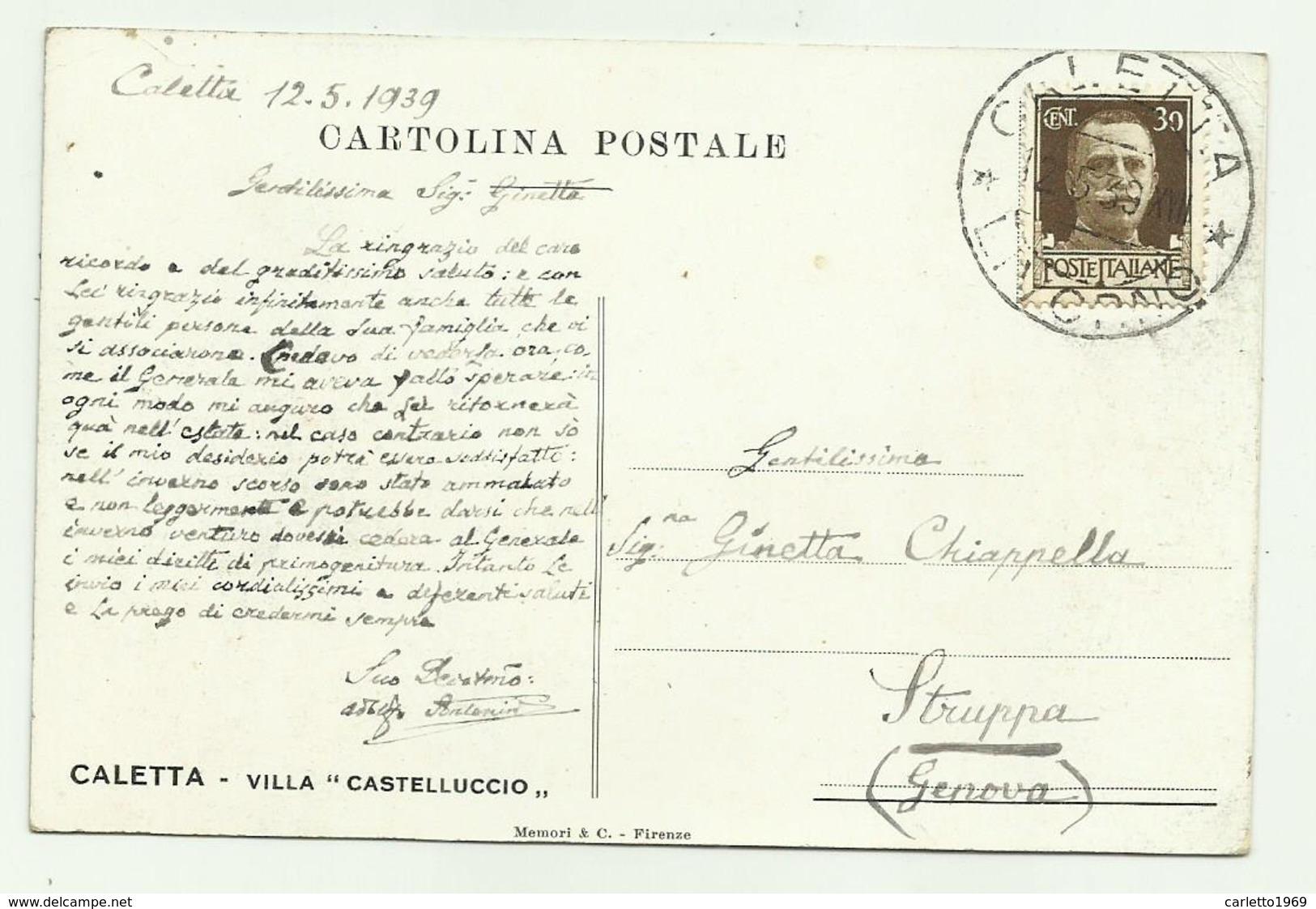 CALETTA - VILLA CASTELLUCCIO  VIAGGIATA FP - Livorno