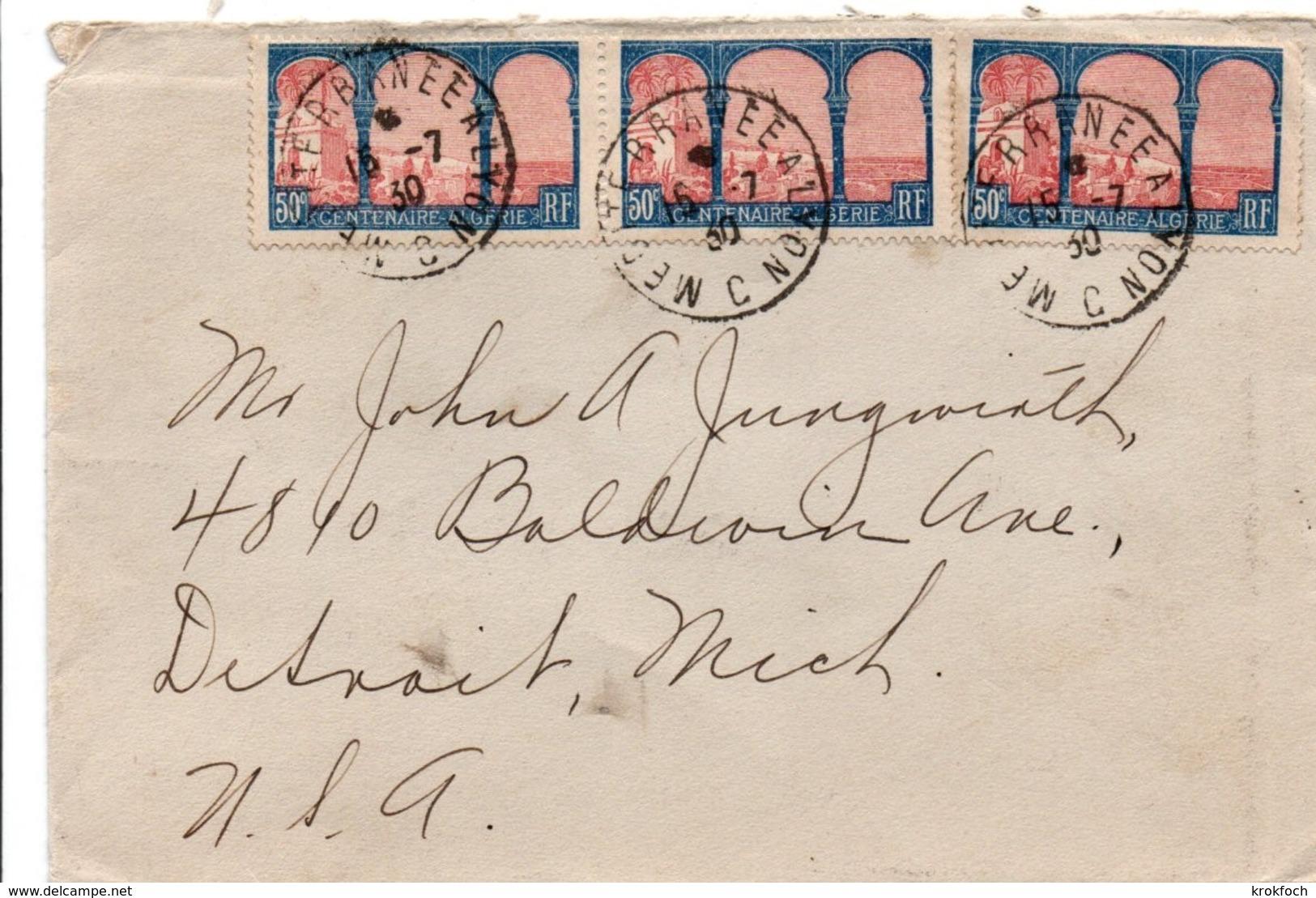 Mediterranée à Lyon C 1930 - Lettre Pour Detroit USA - Ambulant Poste Ferroviaire - Postmark Collection (Covers)