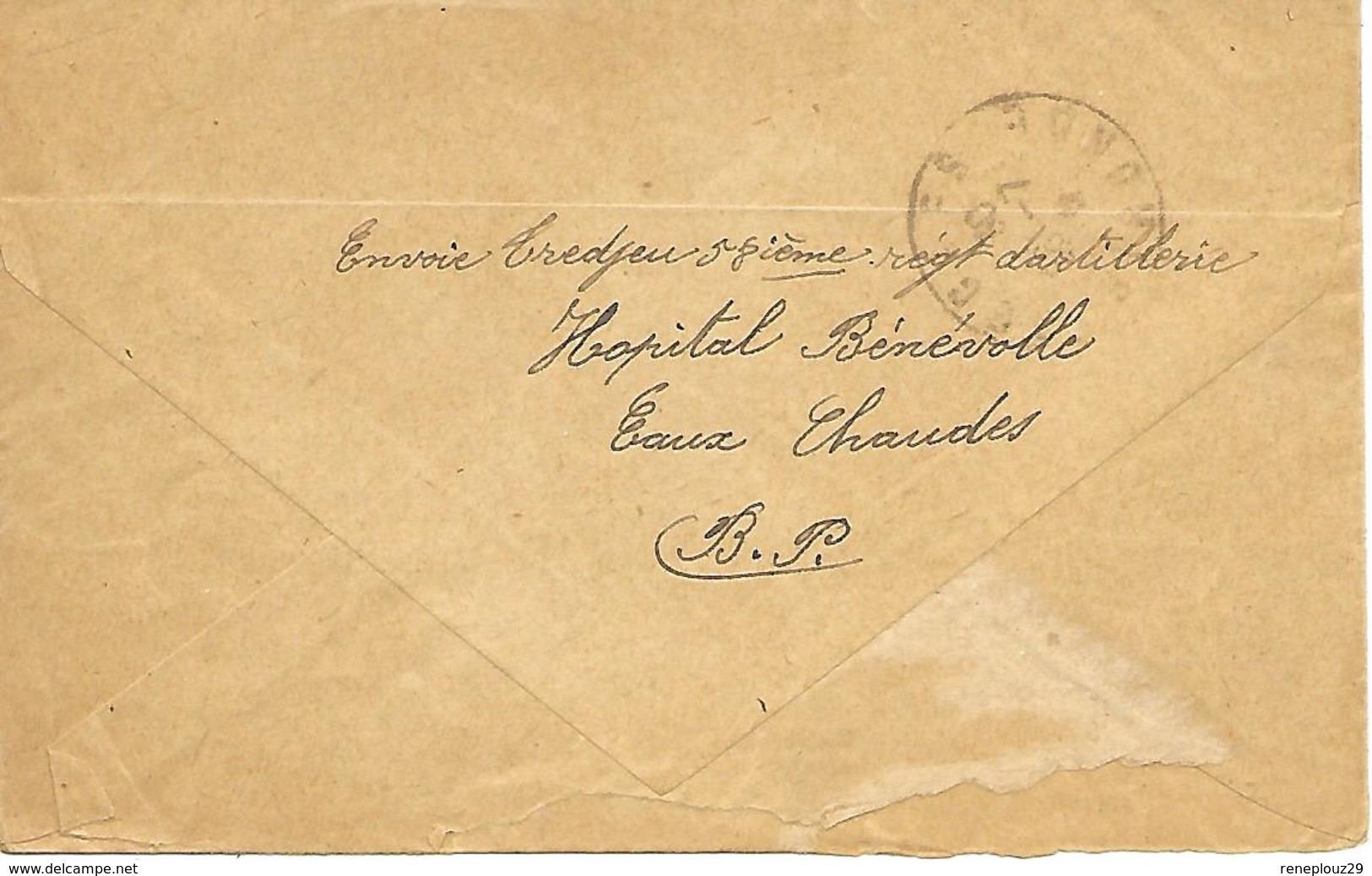 64- Cachet Hôpital-Formation Sanitaire Des Eaux-Chaudes Sur Lettre En 14/18- Cachet Très Rare - Marcofilie (Brieven)