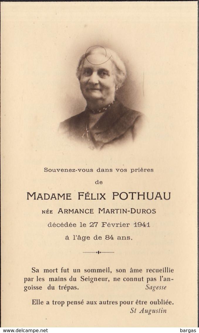 Faire Part Félix Pothuau Née Martin Duros - Overlijden