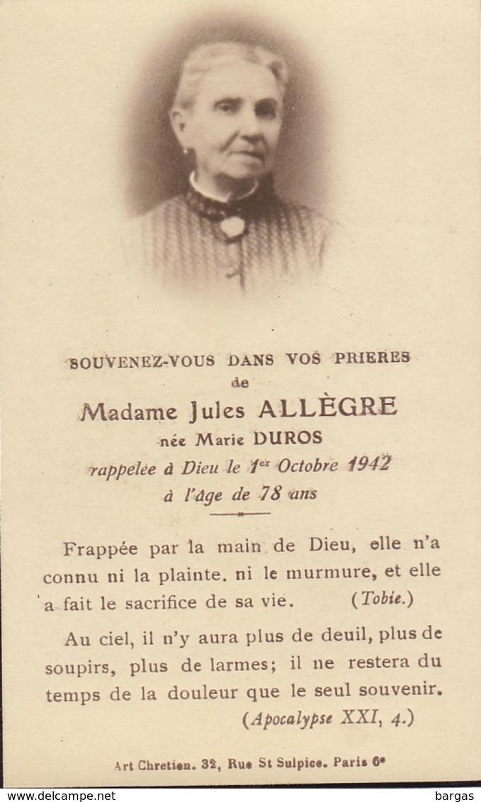 Faire Part Jules Allègre Née Marie Duros - Overlijden