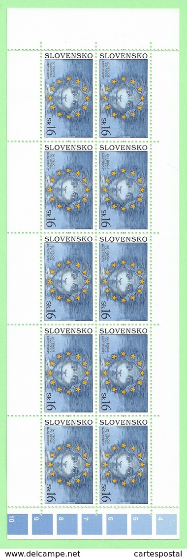 4483  --  SLOVAQUIE - 1999  N°296** F0euille De 10 Timbres  Neuf - Collections, Lots & Series