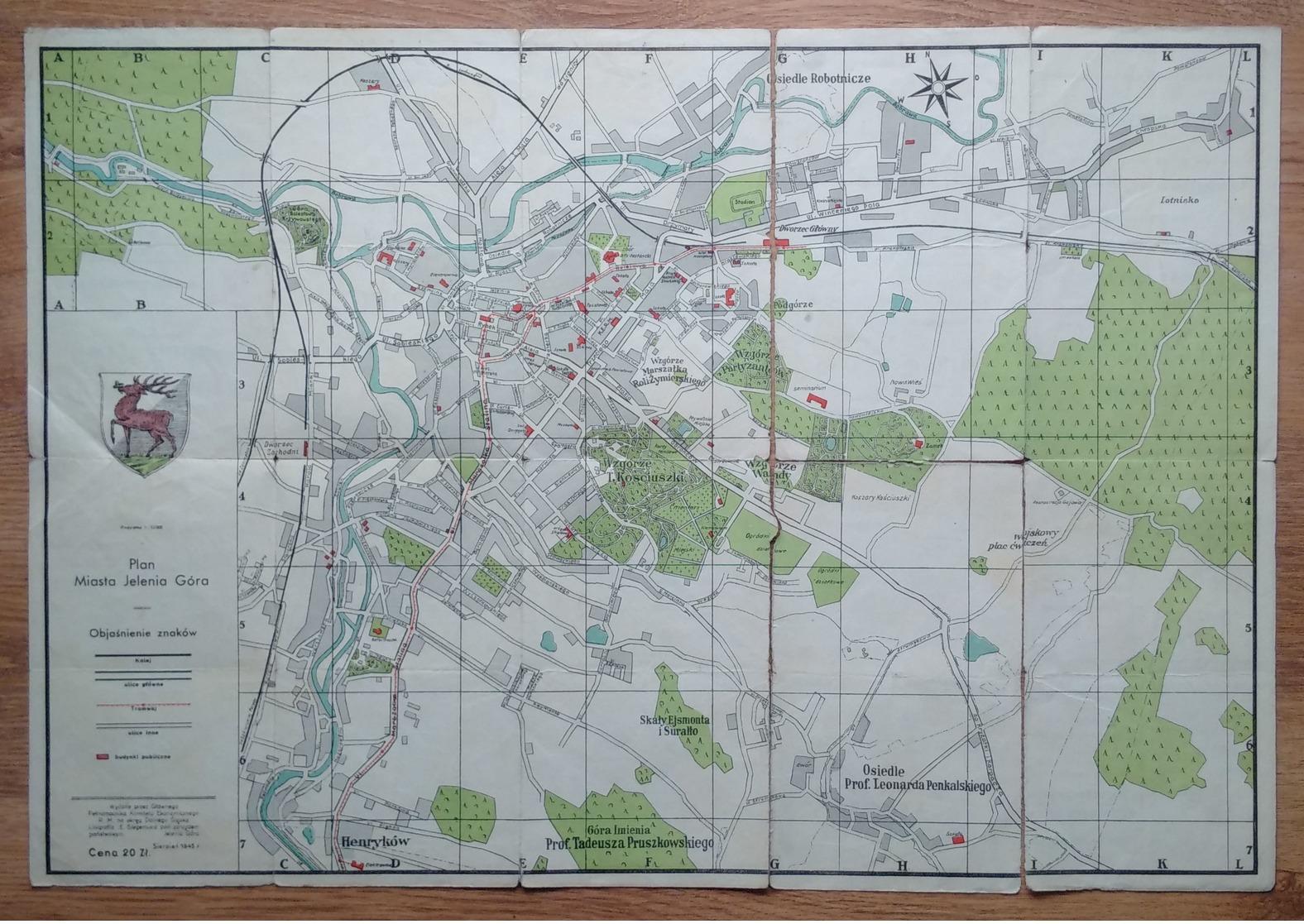 Poland Pologne Polen Jelenia Gora Hirschberg City Map Carte De La Ville Stadtkarte 1945 - Karten