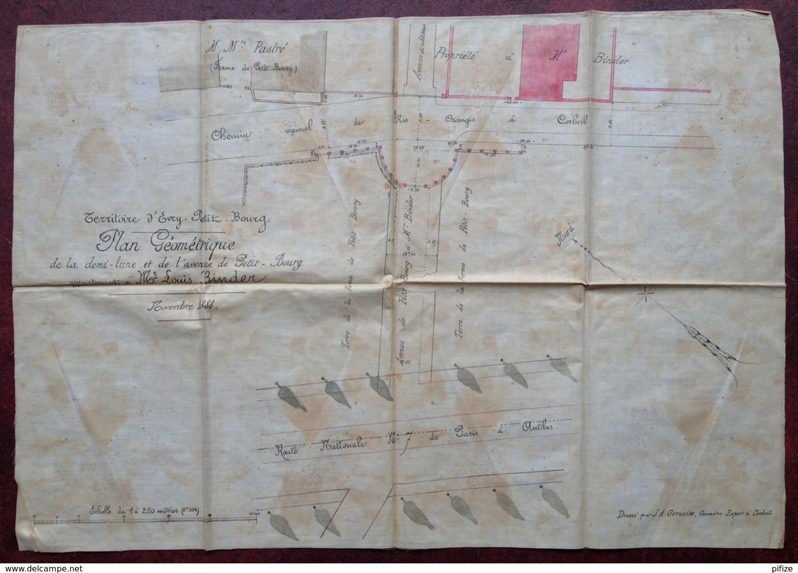 Plan Géométrique . Demi-lune Et Avenue Du Petit-Bourg à Evry (Château De M. Louis Binder) . 1888 . Géomètre Gervaise . - Sonstige
