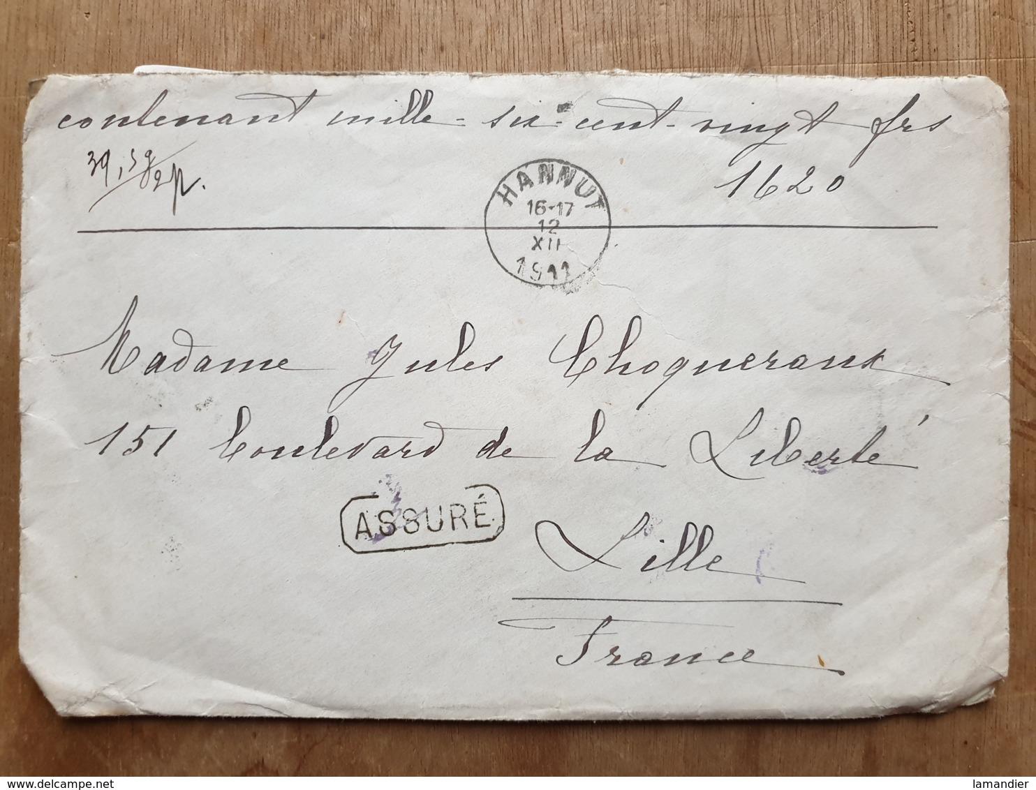 """Lettre  """" ASSURÉ  1620 Fr-   HANNUT  12/12/19119  - HUY   - LILLE Nord - - Other"""