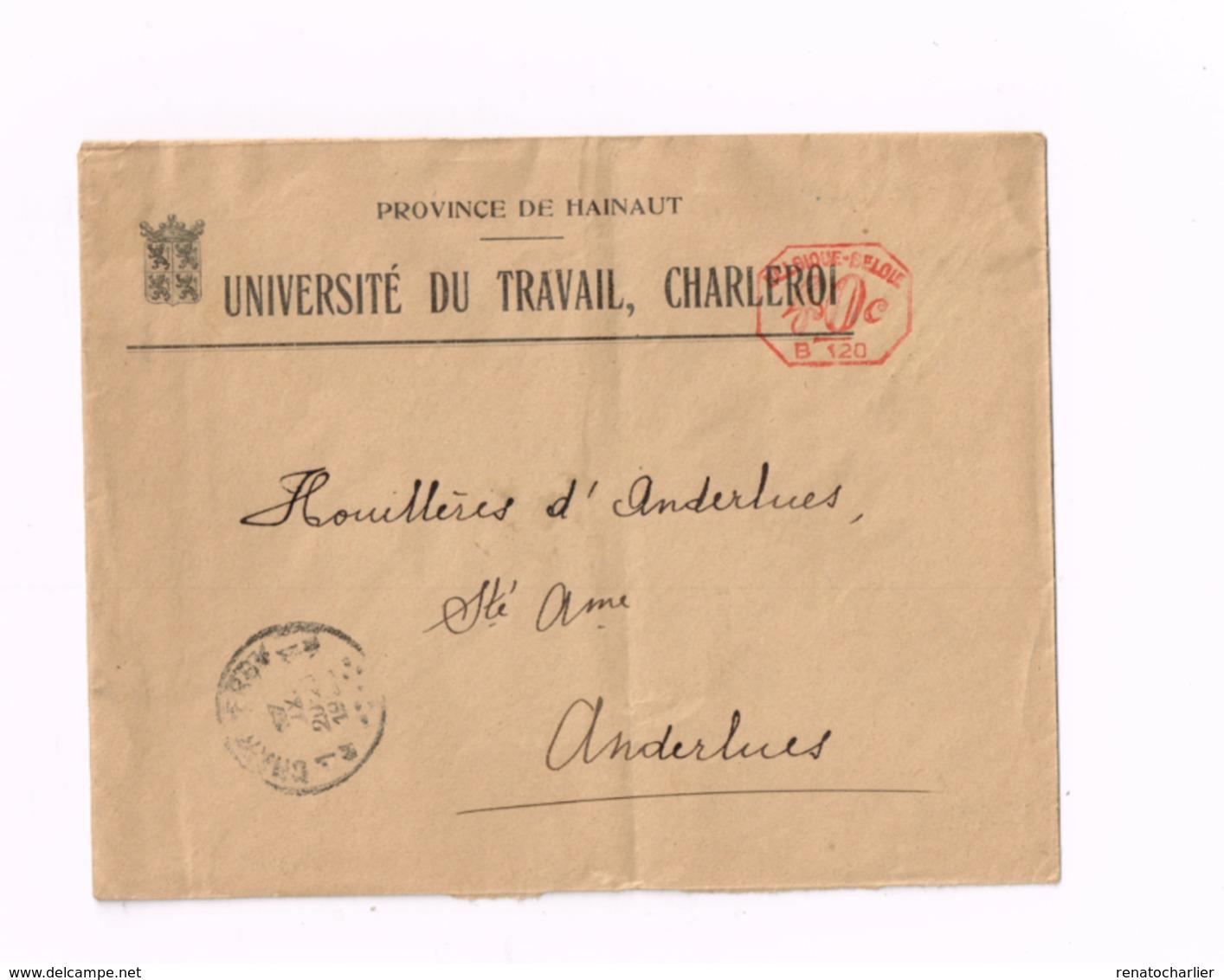 Lettre De Charleroi à Anderlues (pliée) - Poststempel