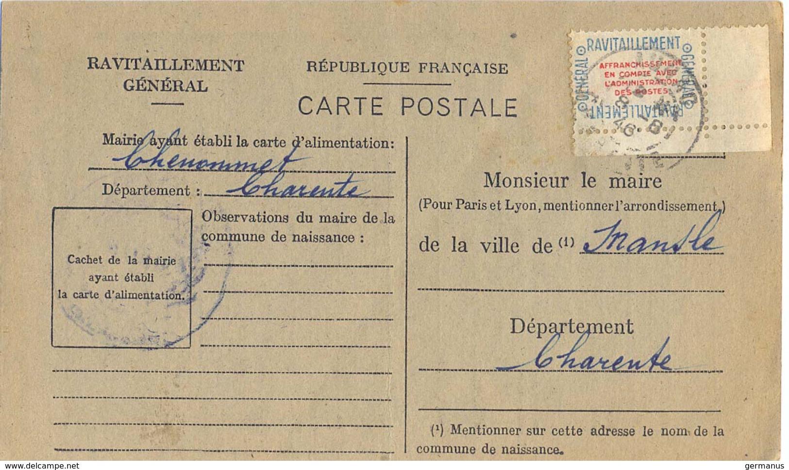CARTE DE RAVITAILLEMENT GÉNÉRAL – MAIRIE DE CHENOMMET CHARENTE TàD BUREAU RECETTE De AUNAC Du 8-8-46 - 1921-1960: Période Moderne