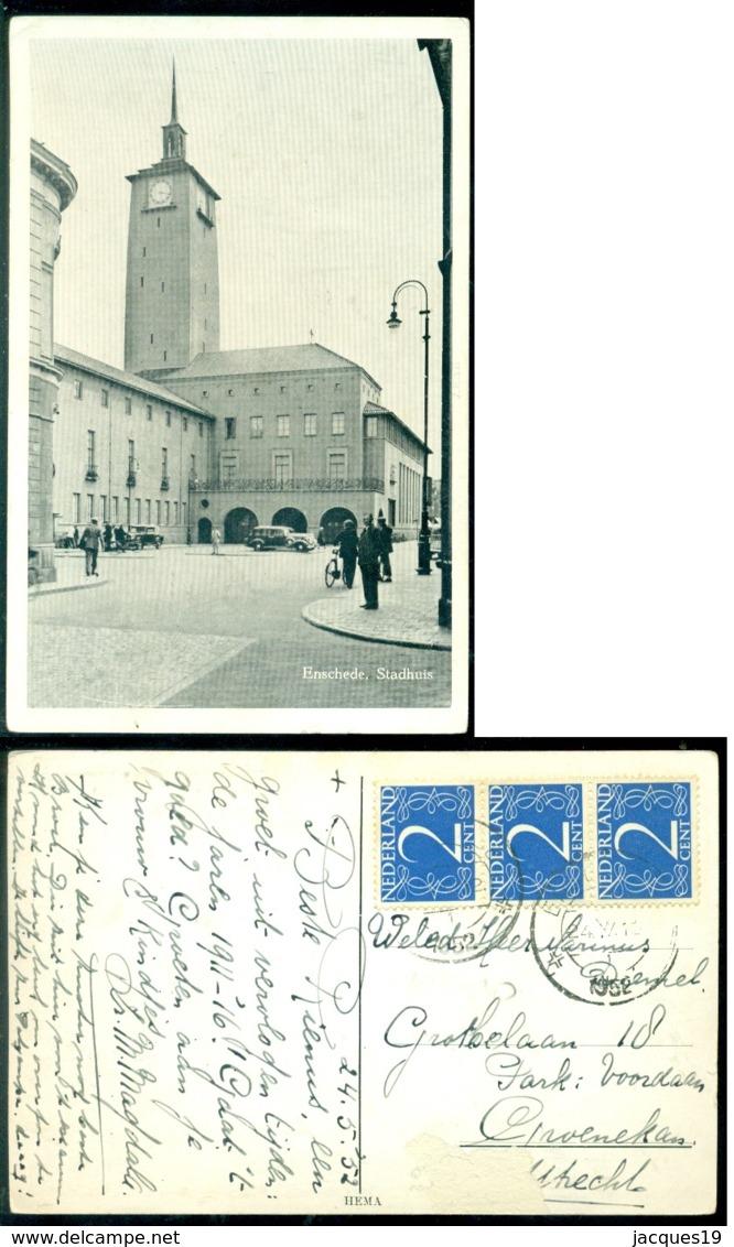 Nederland 1952 Ansichtkaart Enschedé Stadhuis - Enschede