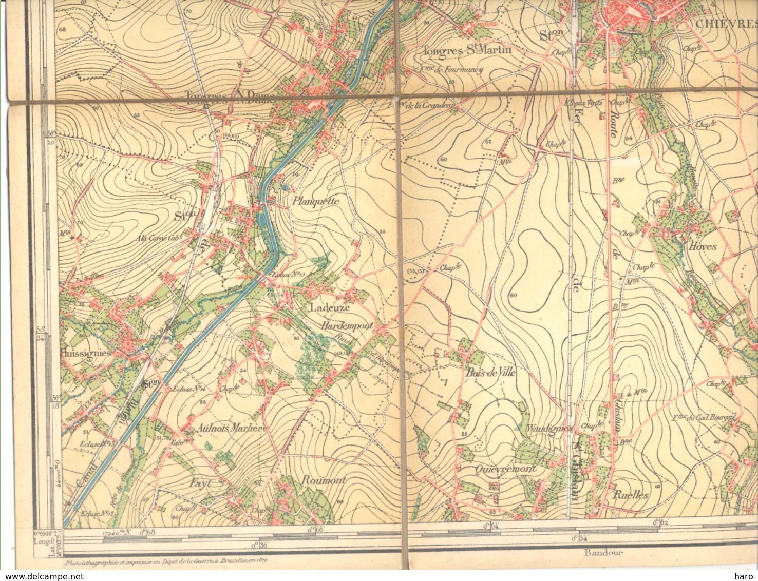 Carte De Géographie Toilée - ATH 1876 - Levée Et Nivelée 1866 (b271) - Geographical Maps