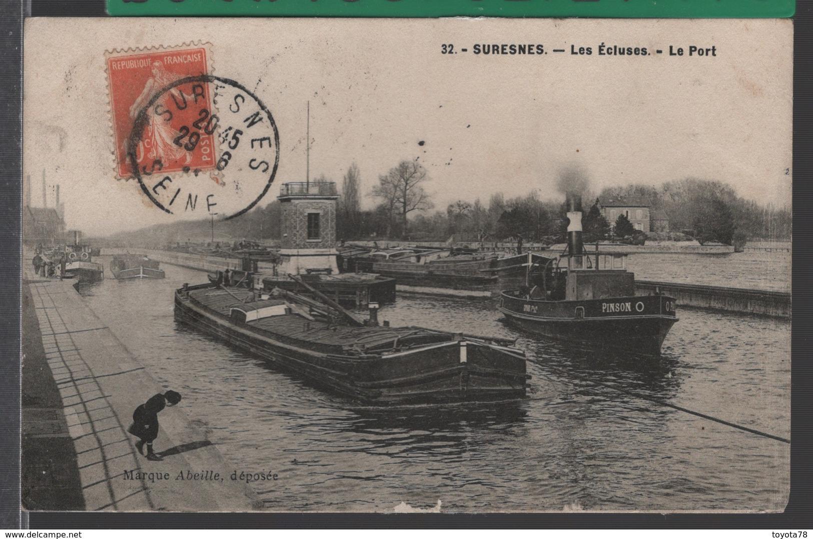 SURESNES (92) Les Écluses - Le Port - TRÈS BEAU PLAN - [ Nombreuses Péniches - Remorqueur 'Pinson' ] - Suresnes