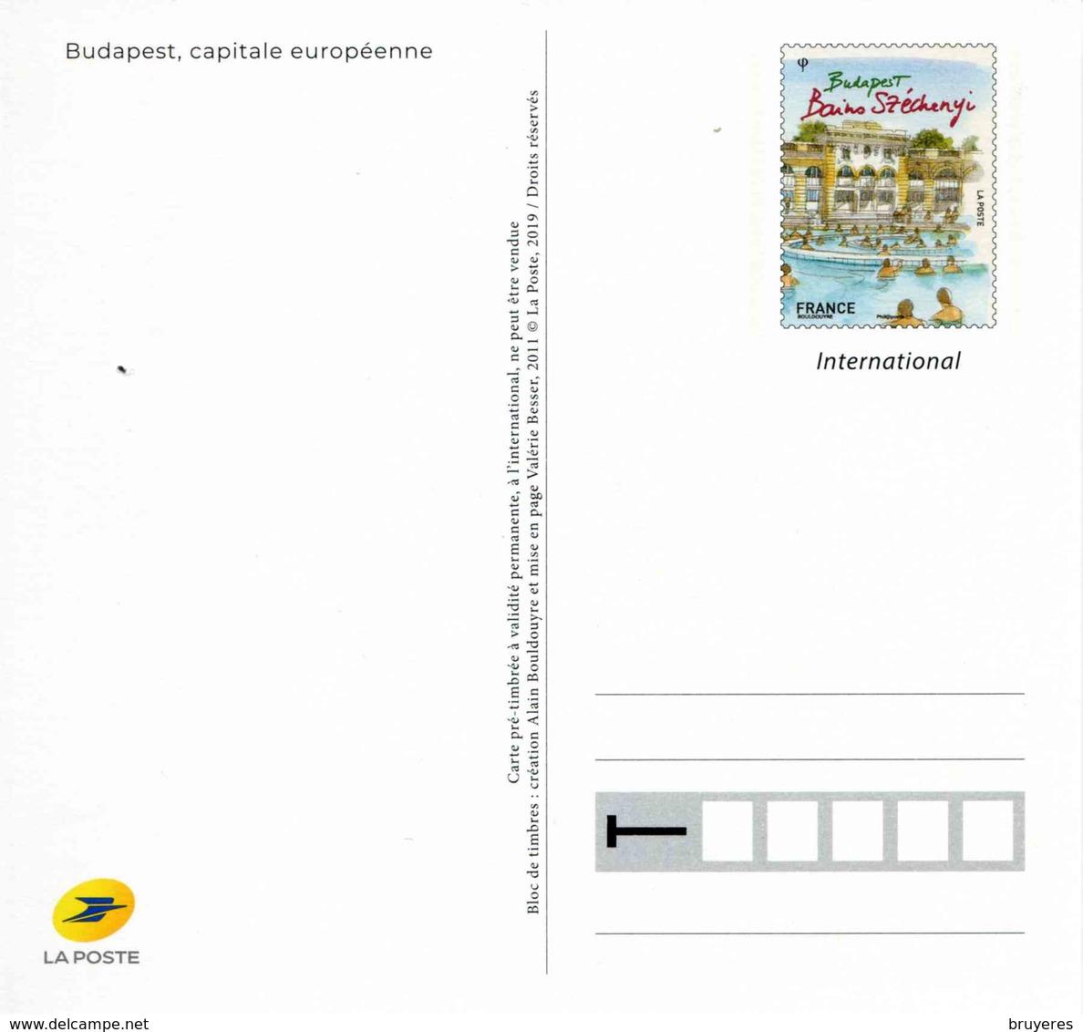 """ENTIER POSTAL De 2019 Sur CP Avec Timbre Et Illust. """"Capitales Européennes : BUDAPEST - Bains Széchenyi"""" - Postwaardestukken"""