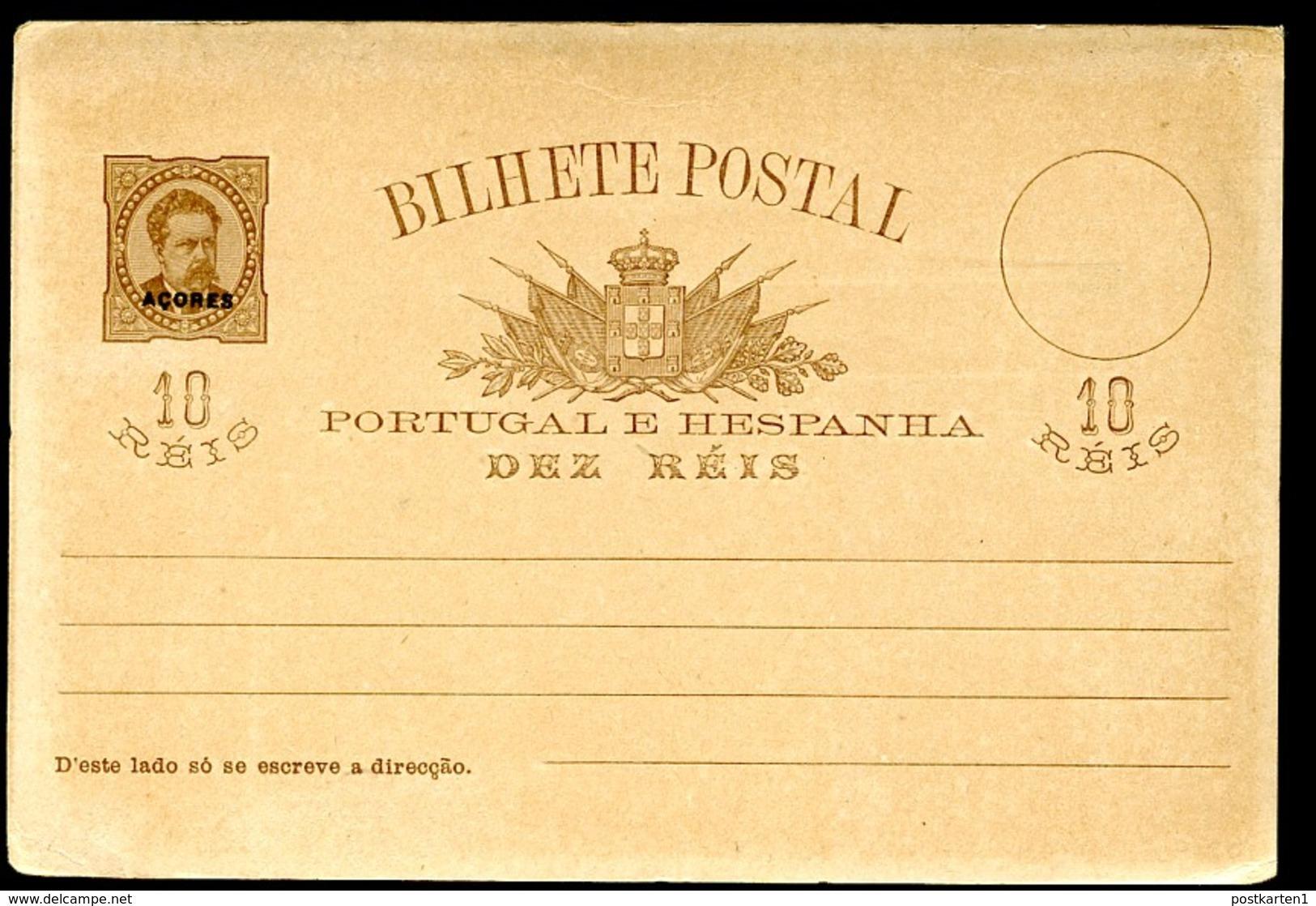 AZORES Postal Card #20  10 Reis Mint 1884 - Azores