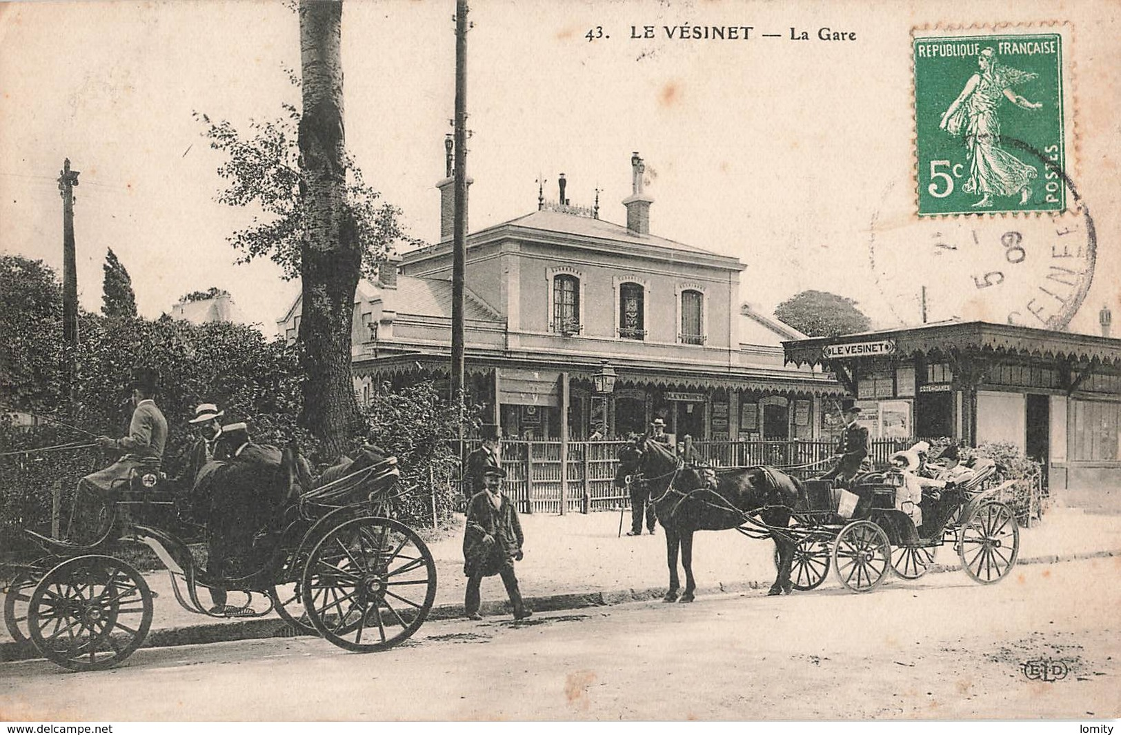 78 Le Vésinet La Gare Cpa Carte Animée Attelage Cachet 1909 - Le Vésinet