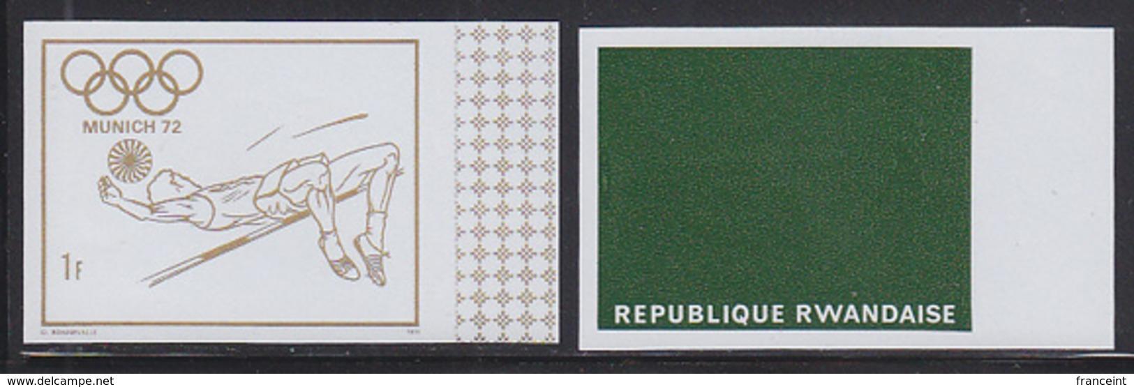 RWANDA (1972) High Jump. Imperforate Proofs Of Vignette And Background. Scott No 481. Munich Olympics. - Summer 1972: Munich