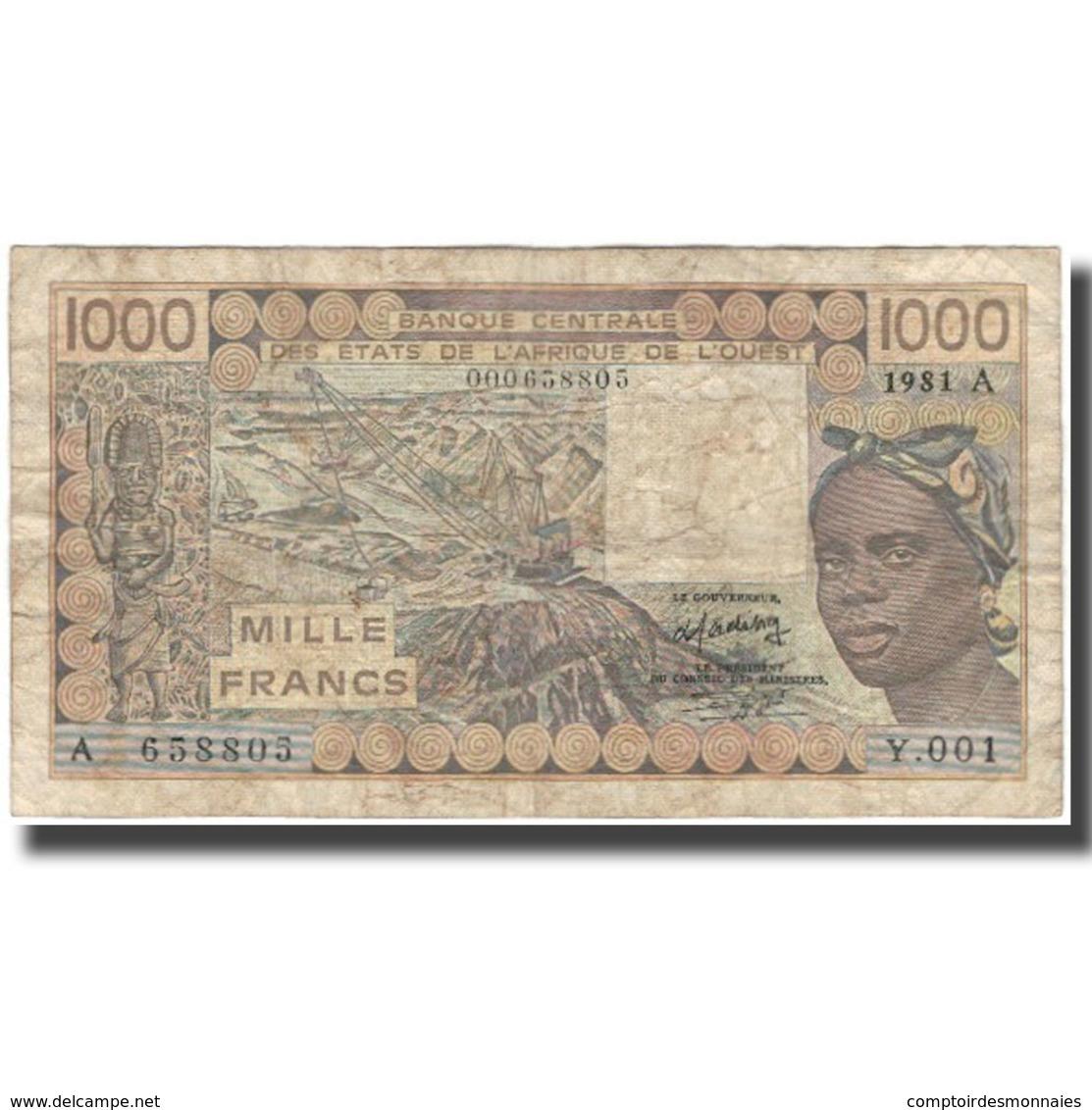 Billet, West African States, 1000 Francs, 1981, KM:107Ab, B+ - Westafrikanischer Staaten