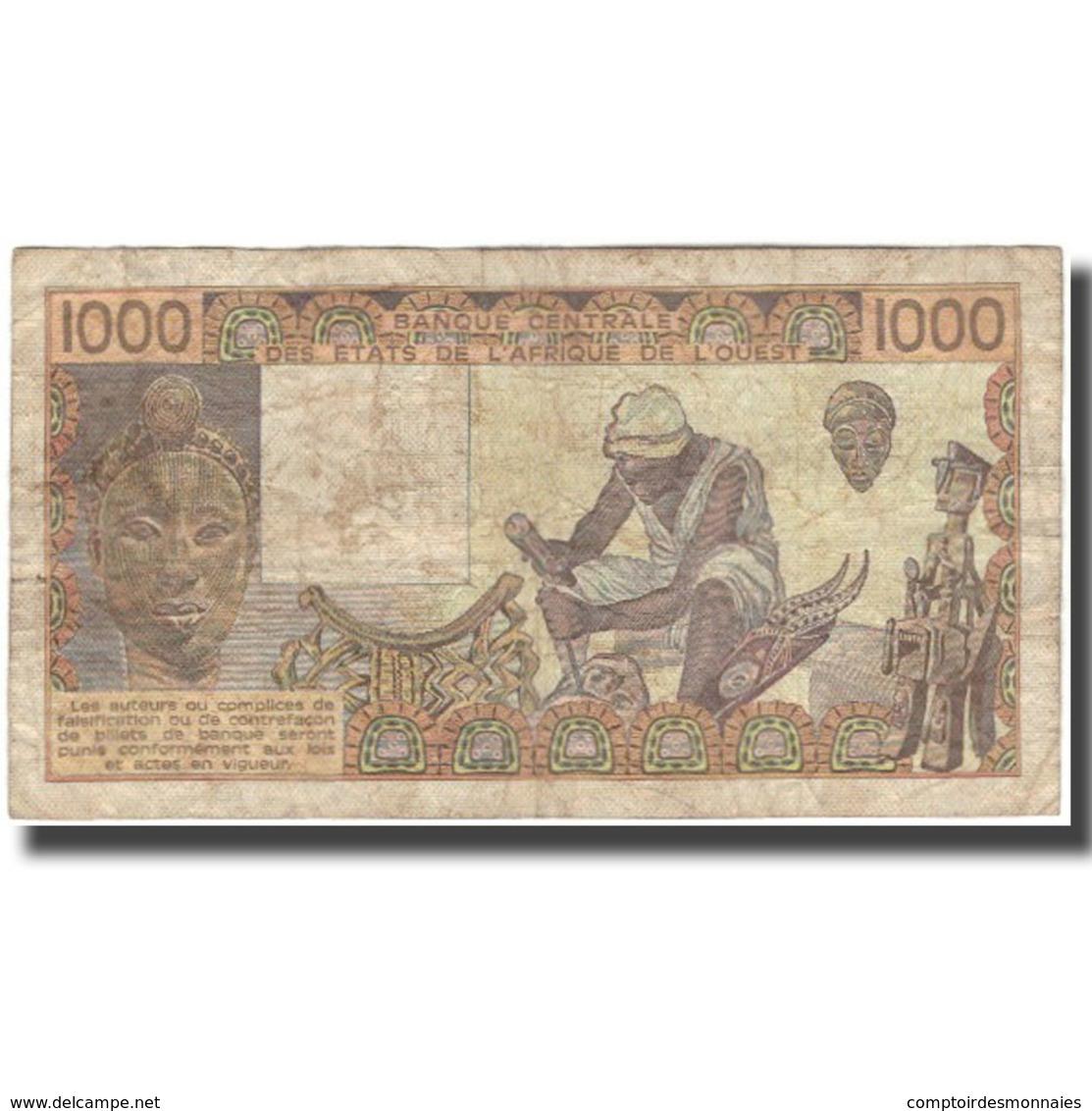 Billet, West African States, 1000 Francs, 1981, KM:107Ab, B+ - West African States