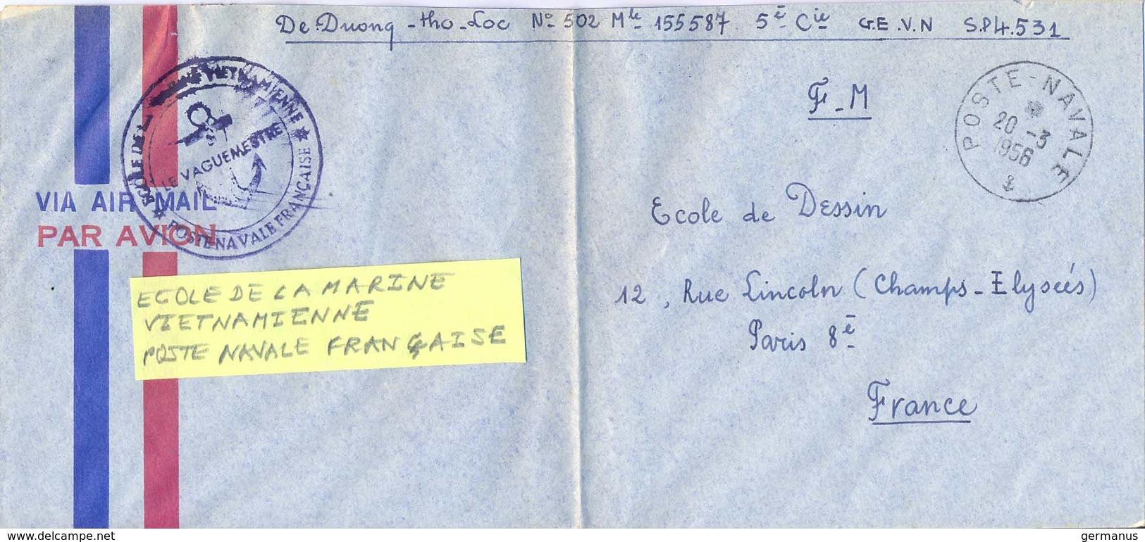 GUERRE D'INDOCHINE VIET-NAM ECOLE DE LA MARINE VIETNAMIENNE * POSTE NVALE FRANÇAISE * TàD POSTE NAVALE Du 20-3-1956 - Postmark Collection (Covers)