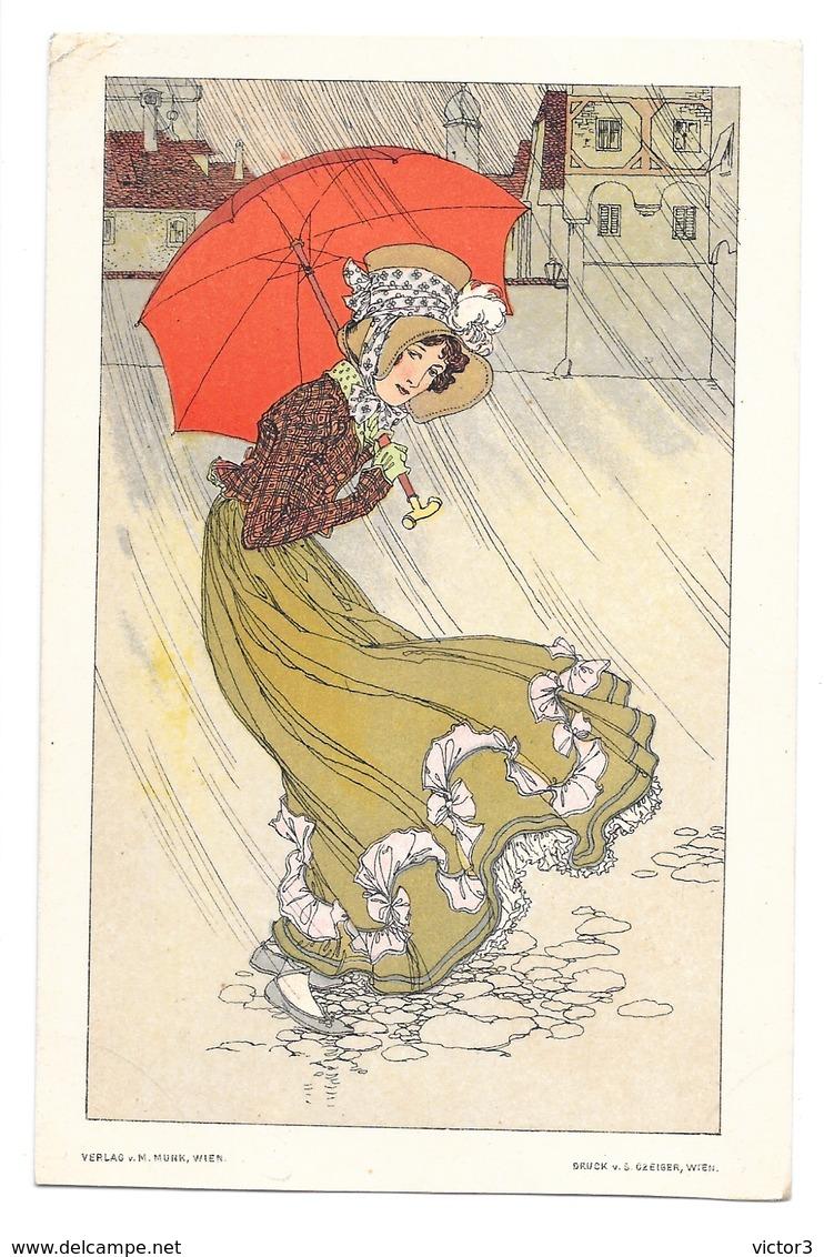 CPA ALICE WANKE ? FEMME PARAPLUIE ART NOUVEAU M MUNK WIEN CZEIGER - 1900-1949