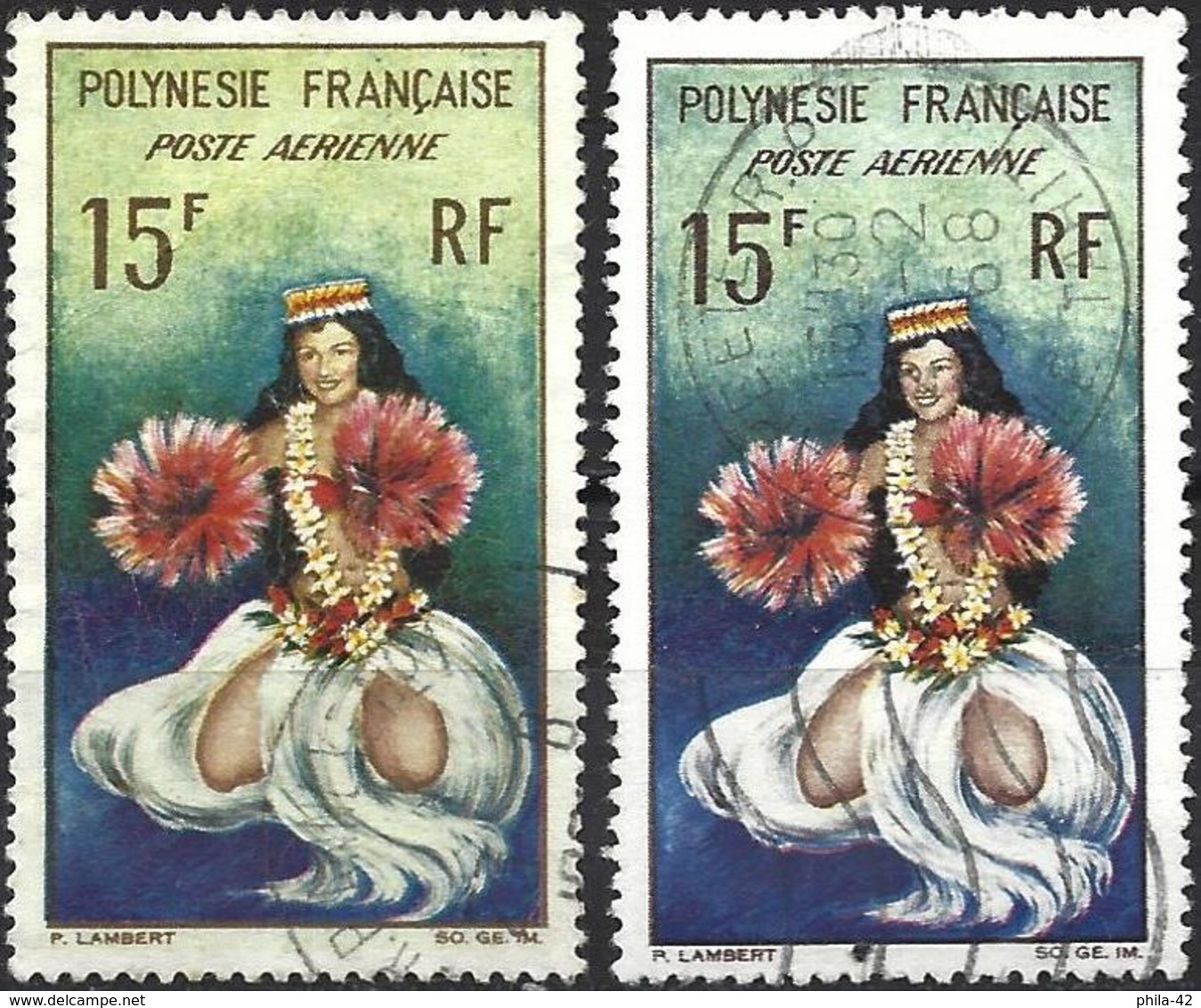 French Polynesia 1964 - Mi 35 - YT Pa 7 ( Tahitian Dancer ) Two Shades Of Color - Gebruikt