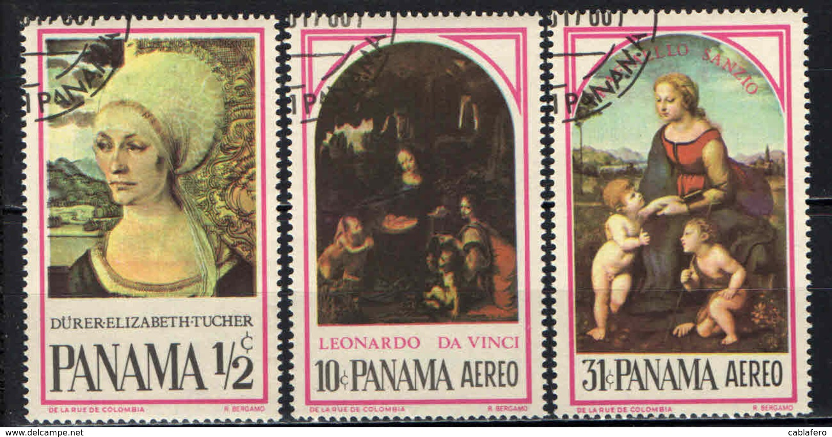 PANAMA - 1966 - DIPINTI E PITTORI FAMOSI: DURER, LEONARDO DA VINCI, RAFFAELLO SANZIO - USATI - Panama