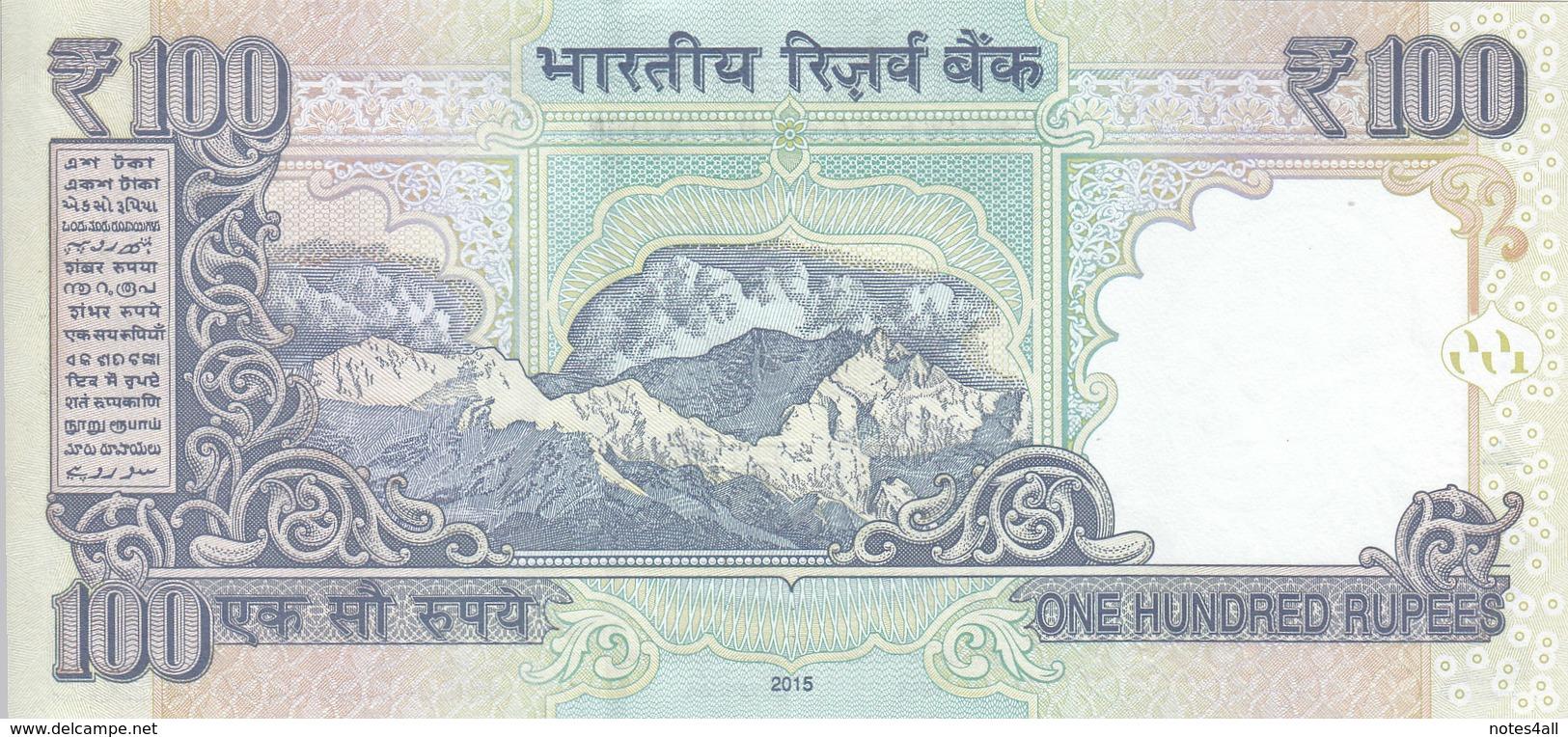 INDIA 100 RUPEES 2015 P 105 PREFIX AQ AU/UNC */* - India