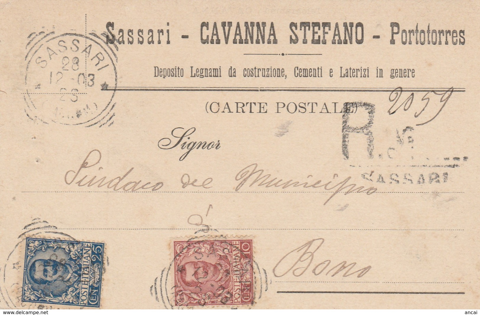 Sassari. 1903. Annullo Tondo Riquadrato SASSARI (RACCOM.), Su Cartolina Pubblicitaria Raccomandata. BELLA. - Storia Postale