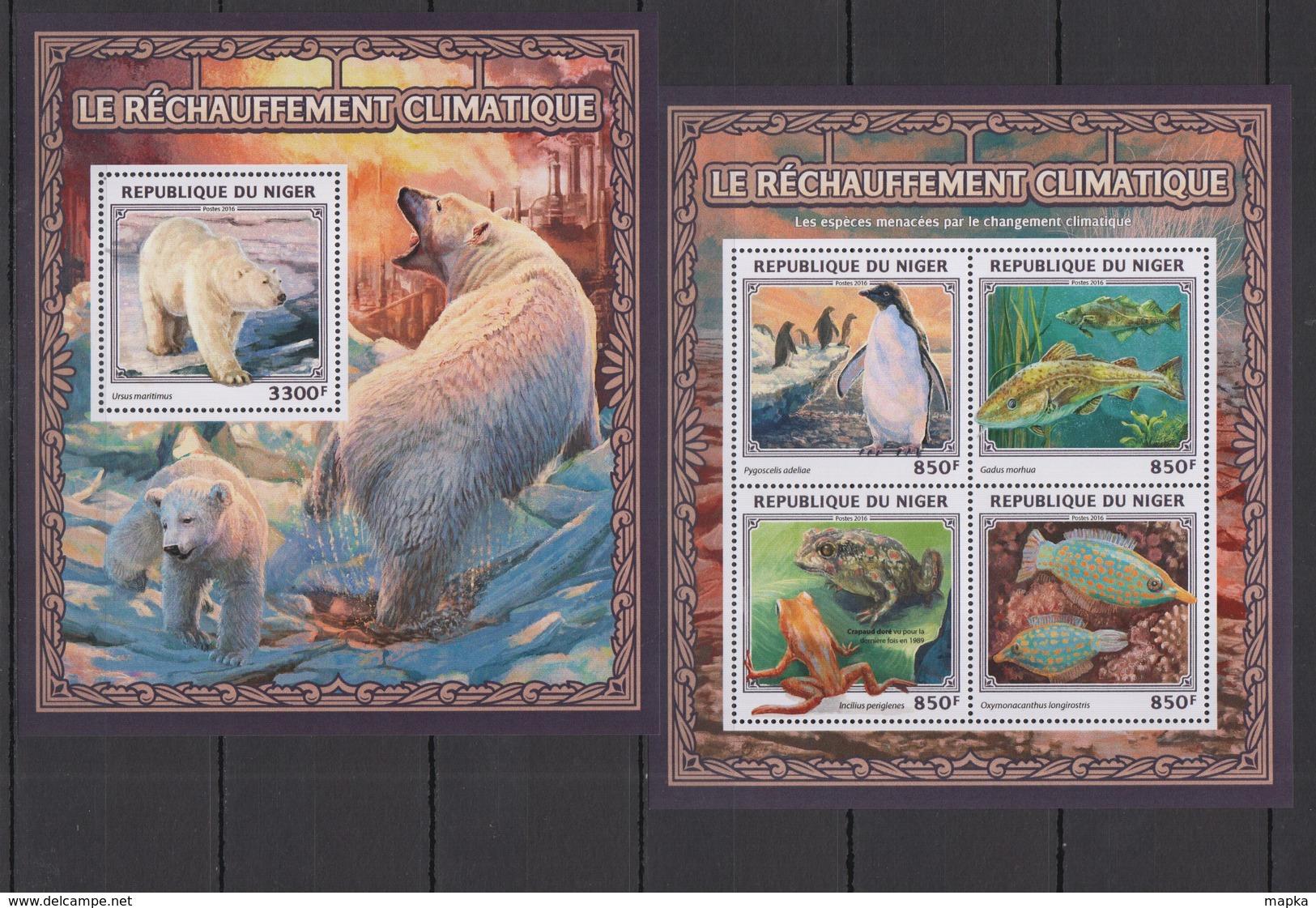 ST1897 2016 NIGER FLORA & FAUNA ANIMALS NATURE GLOBAL WARMING CLIMATE CHANGE KB+BL MNH - Stamps