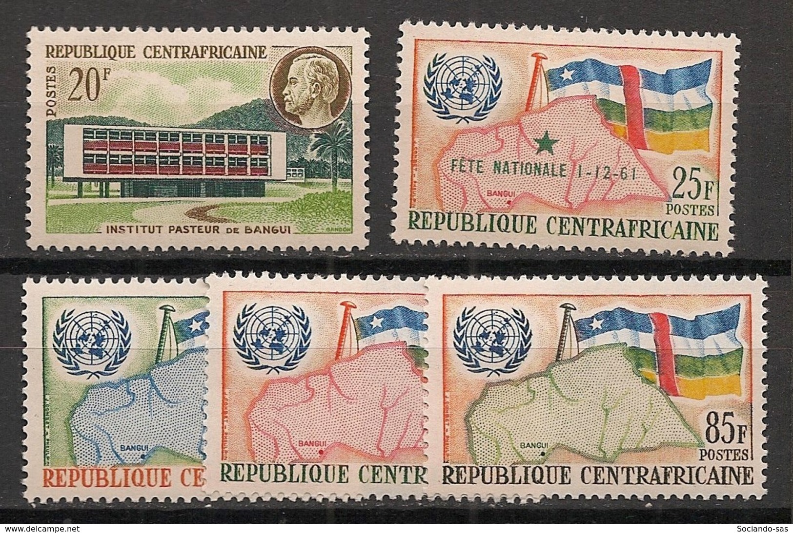 Centrafricaine - Année Complète 1961 - N°Yv. 13 à 17 - Complet 5 Valeurs - Neuf Luxe ** / MNH / Postfrisch - Zentralafrik. Republik