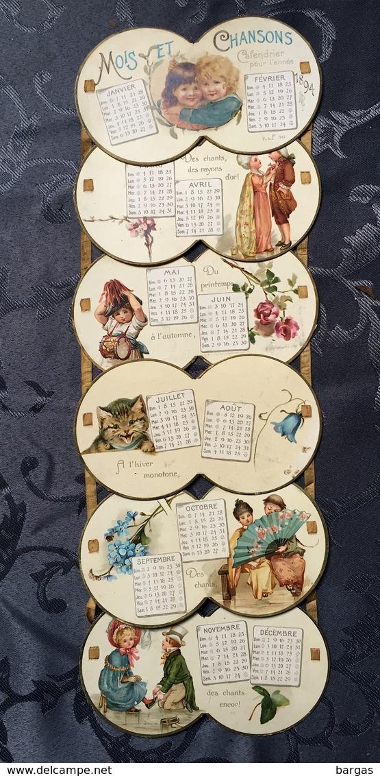Rare Calendrier à Ruban Pour 1894 Mois Et Chansons - Calendari