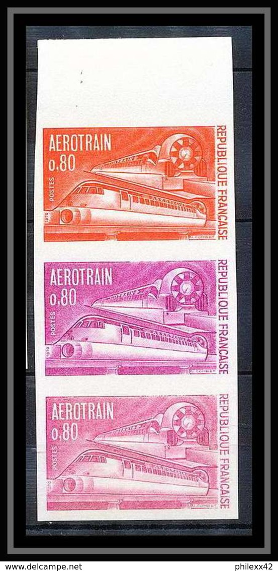 France N°1631 Aérotrain Train Bande De 3 Essai (trial Color Proof) Non Dentelé (imperforate) ** MNH - Essais