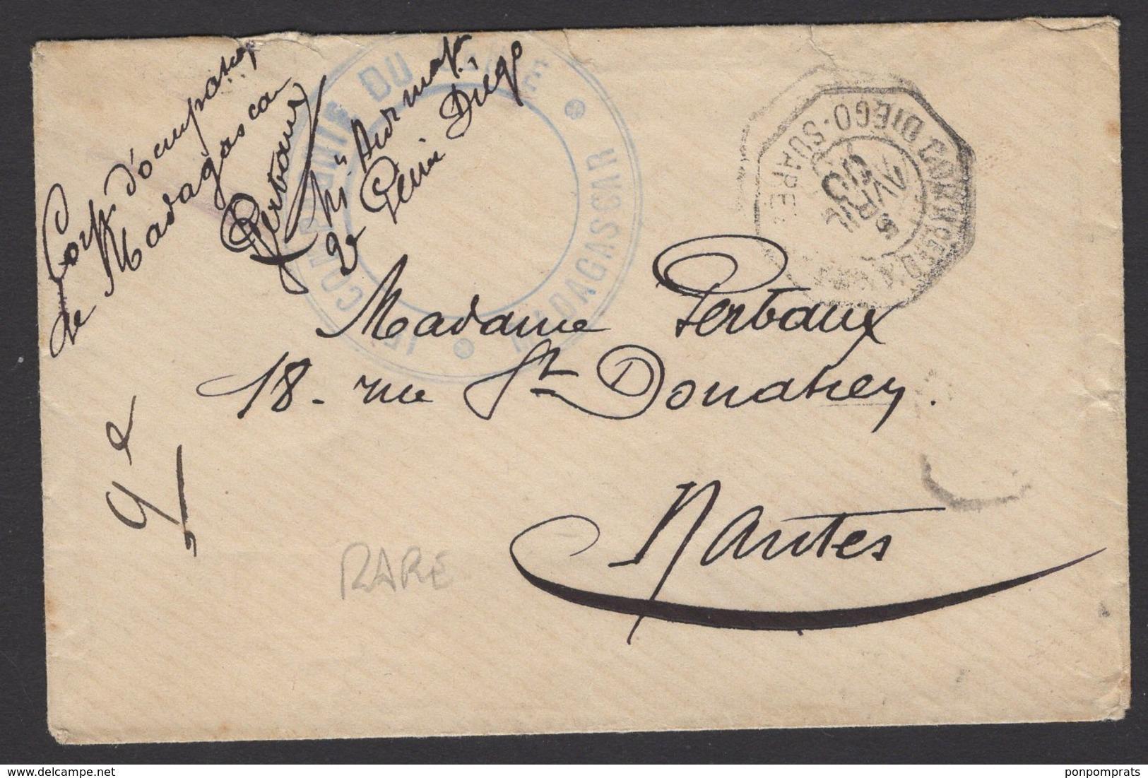 Enveloppe Du Corps D'Occoupation De MADAGASCAR Oblt CORRces D'ARMEE DIEGO-SUAREZ+ Cachet De Vaguemestre Et Contreseing - Madagascar (1889-1960)